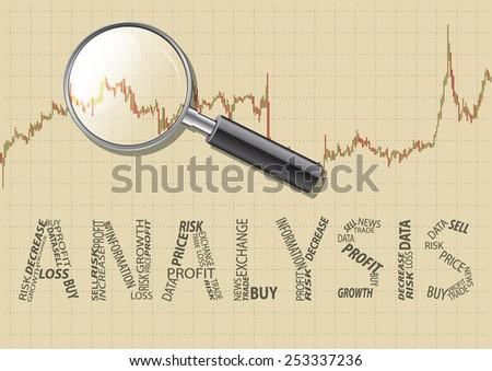 Analysis chart magnifying glass.Inscription analysis. - stock vector