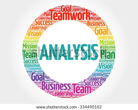 Analysis circle stamp word cloud, business concept - stock vector