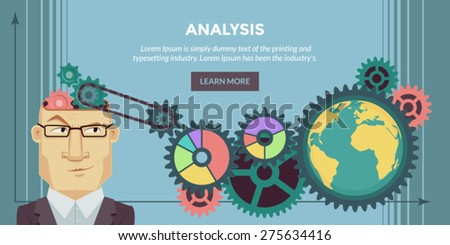 Analysis. Flat design illustration concepts for business, finance, consulting, management, analysis, strategy and planning. A thinking man. Concepts can be used for background, web banner. - stock vector