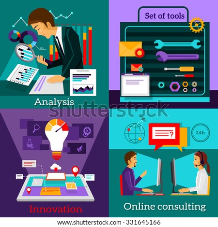Analysis innovation. Online consulting. Set tools. Strategy solution, work support and advice, development technology, intelligence and information illustration - stock vector