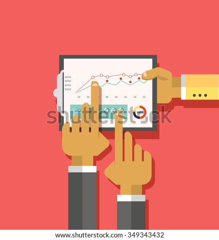 Analysis of actions infographic. Analytics and analysis icon, analyze and business analysis, research data analysis, strategy business, plan web, idea marketing seo. Hands with graph, charts - stock vector