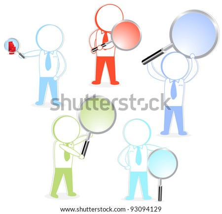 analysis of colorful business cartoons - stock vector