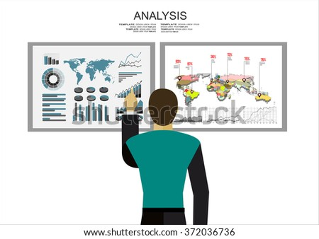 Analysis of information on the dashboard. Monitoring and statistics - vector illustration - stock vector
