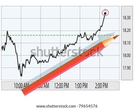 Analysis of stock market graph. Finance concept illustration. - stock vector