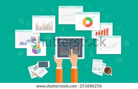 analytics graph SEO business on mobile device - stock vector
