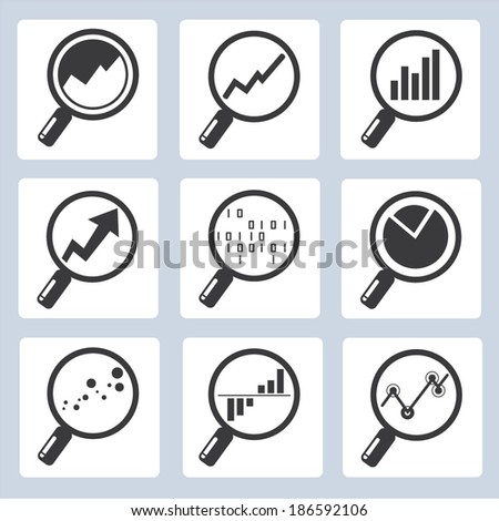 analytics icons, magnifier glass with data chart, big data concept  - stock vector