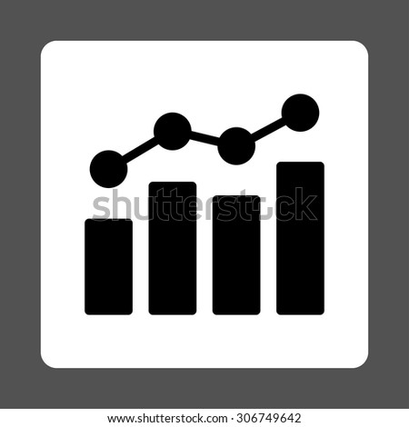 Analytics vector icon. This flat rounded square button uses black and white colors and isolated on a gray background. - stock vector