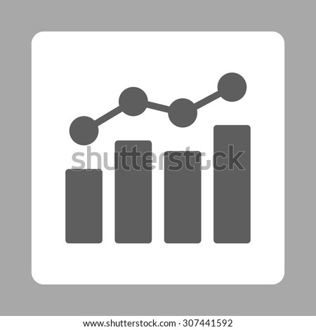 Analytics vector icon. This flat rounded square button uses dark gray and white colors and isolated on a silver background. - stock vector