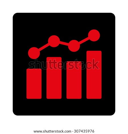 Analytics vector icon. This flat rounded square button uses intensive red and black colors and isolated on a white background. - stock vector