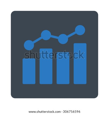 Analytics vector icon. This flat rounded square button uses smooth blue colors and isolated on a white background. - stock vector