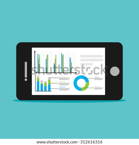 Analyze business statistics with mobile phone concept illustration. - stock vector