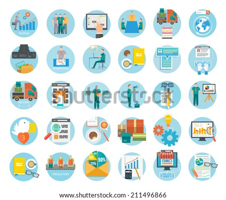 Analyze of internet shopping process of purchasing and delivery. Business online sale icons. Poster concept with icons of buying product via online shop and e-commerce shopping elements in flat design - stock vector