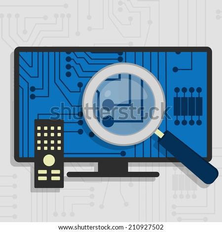 Analyzing the hardware and the electronic circuit of the Smart TV with a magnifying glass. - stock vector