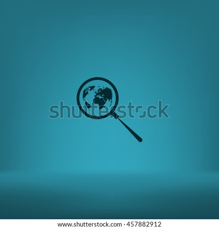 Analyzing the world. Magnifier glass with globe vector illustration - stock vector
