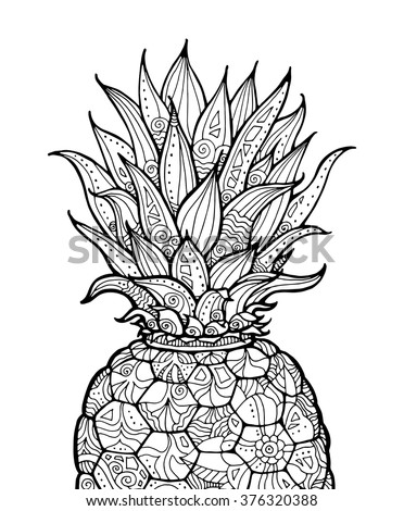 fruit coloring pages for adults | Ananas Pineapple Exotic Fruit Floral Pattern Stock Vector ...