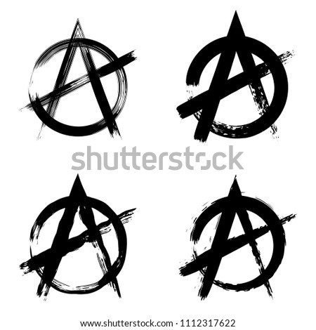 Anarchy Brush Symbol Anarchy Grunge Style Stock Vector 1112317622