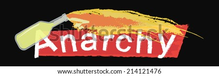 Anarchy grunge scratched logo with flying burning molotov cocktail isolated on black  - stock vector