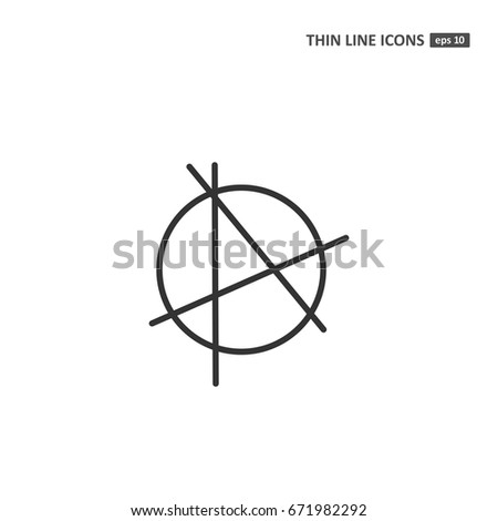 Anarchy Vector Thin Line Icon On Stock Vector 671982292 Shutterstock