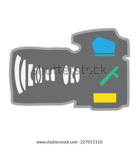 Anatomy Camera DSLR Lens Inside Camera Part - stock vector