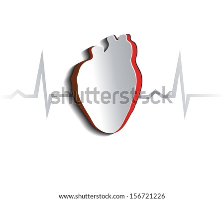 Anatomy of human heart, abstract design. Cut out heart shape and cardiogram. - stock vector