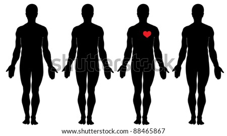 Anatomy of love.   Four men's silhouettes and four hearts - stock vector
