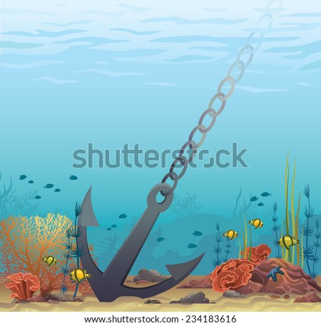 Anchor and coral reef on a blue sea background. Underwater vector illustration.  - stock vector