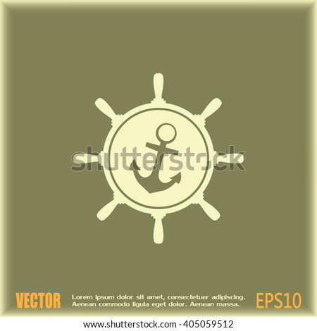 Anchor and ship steering wheel icon - vector illustration  - stock vector