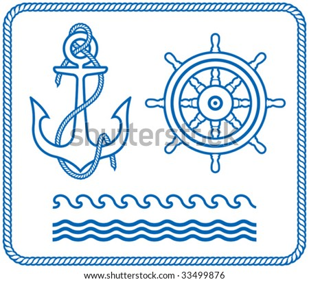 Anchor and Steering Wheel. Nautical designs - stock vector