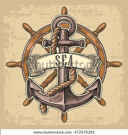 Vintage Sailboat Sketch Anchor Ship Wheel Ribb...