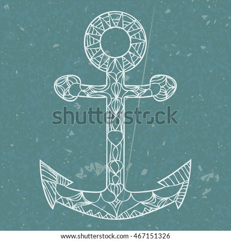 Anchor hand drawn. doodle vector illustration. Zentangle style. outline on underwater background. white contour on dark