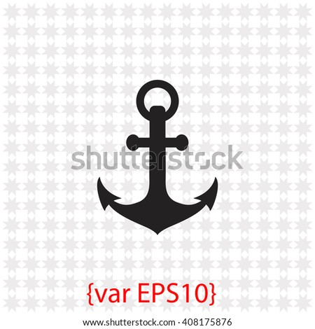 Anchor icon. Anchor vector. Simple icon isolated on gray background. - stock vector