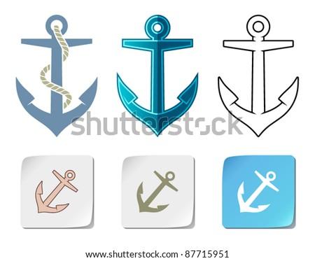Anchor icons - stock vector