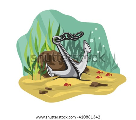 Anchor on a blue sea background. Underwater vector illustration. - stock vector