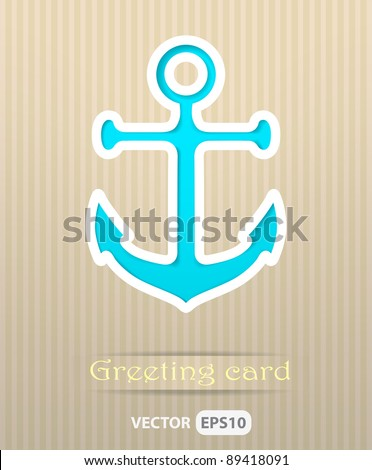 Anchor postcard vector illustration - stock vector