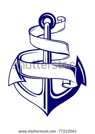 Anchor symbol with ribbon or banner for travel design. Jpeg version also available - stock vector