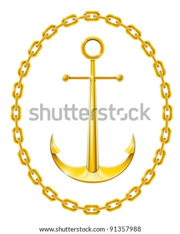 anchor with chain as frame vector illustration isolated on white background - stock vector