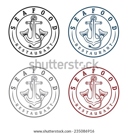 anchor with fish tails seafood restaurant  labels - stock vector