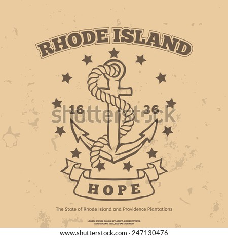Anchor with rope and hope. Design elements. T-shirt print. Rhode Island Flag - stock vector