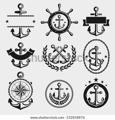 Anchors label and element set. Vector - stock vector
