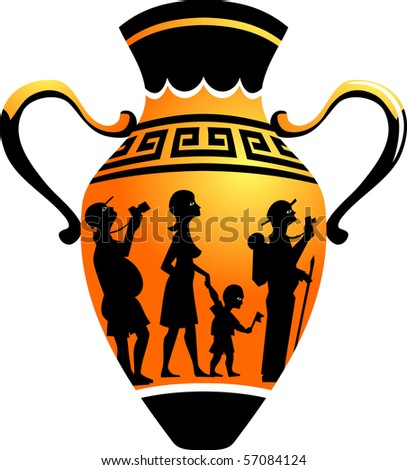 Ancient amphora depicting modern tourist. Caricature vector ...
