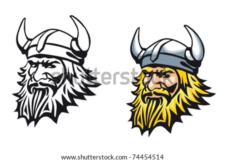 Ancient angry viking warrior as a mascot or tattoo. Jpeg version also available in gallery - stock vector
