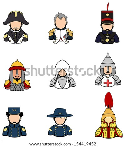 Ancient Asian American and European warrior knight and crusader and commander general half body uniform model icon collection set 1, create by vector  - stock vector