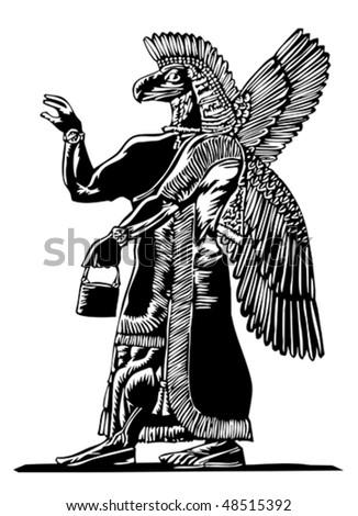 ancient Assyrian god Nisroch - stock vector