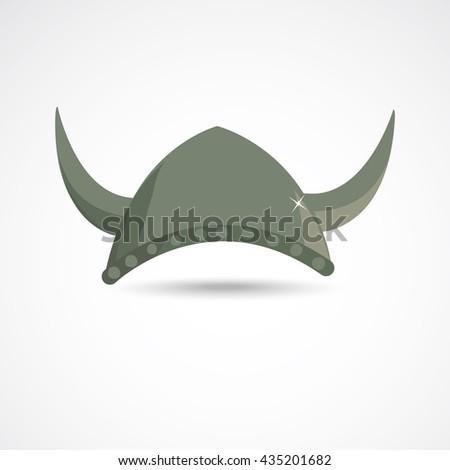 Ancient barbarian gray viking helmet with horns - stock vector