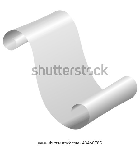 ancient blank silver scroll - stock vector