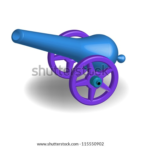 Ancient blue cannon isolated on a white background - stock vector