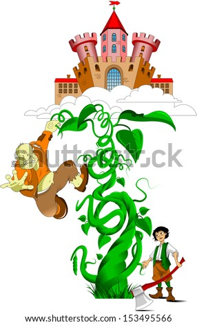 ancient castle in the clouds and bean sprout, vector - stock vector