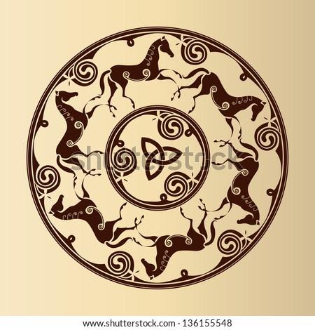 Ancient Celtic Symbol Horses Circle Stock Vector 136155548