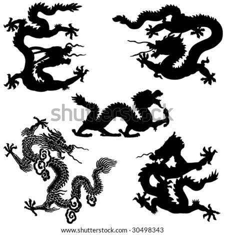 Ancient Chinese mythology the loong animal - stock vector