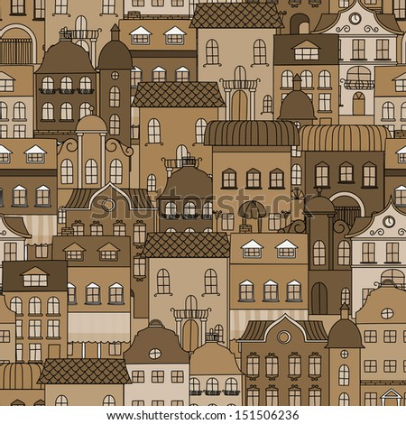 Ancient city seamless pattern with old buildings for wallpaper or background design. Jpeg (rasterized) version also in gallery - stock vector